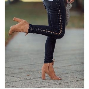 Sam Edelman Yvie Lace-up Saddle Suede Booties
